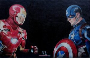 fight between Iron man and Captain America (Fanart)