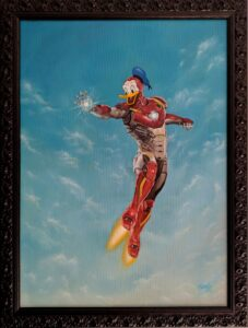Painting about the junction of Iron Man with Donald duck