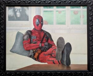 Art about Covid19 with Deadpool in isolation