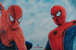 Fan art de una lucha entre los actores que interpretaron a Spiderman en el cine