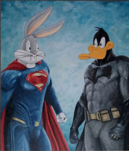 cross of dc heroes and looney tunes
