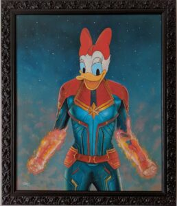 Artwork about the junction of Captain Marvel with Daisy Duck