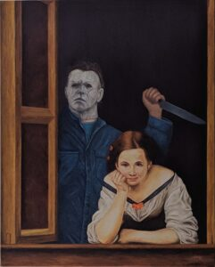 "Painting based on ""Two Women at a Window"" by Bartolomé Esteban Murillo with Michael Myers."